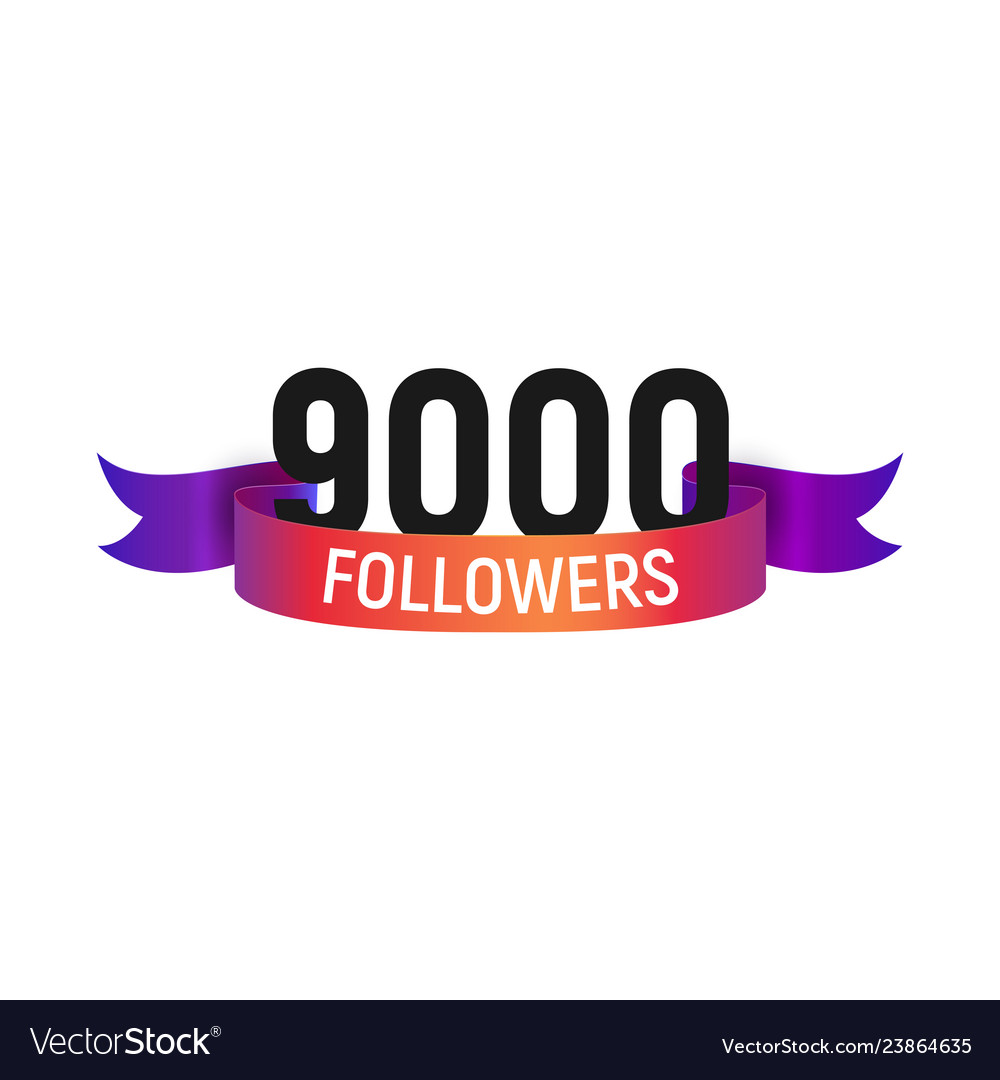 9000 followers number with color bright ribbon