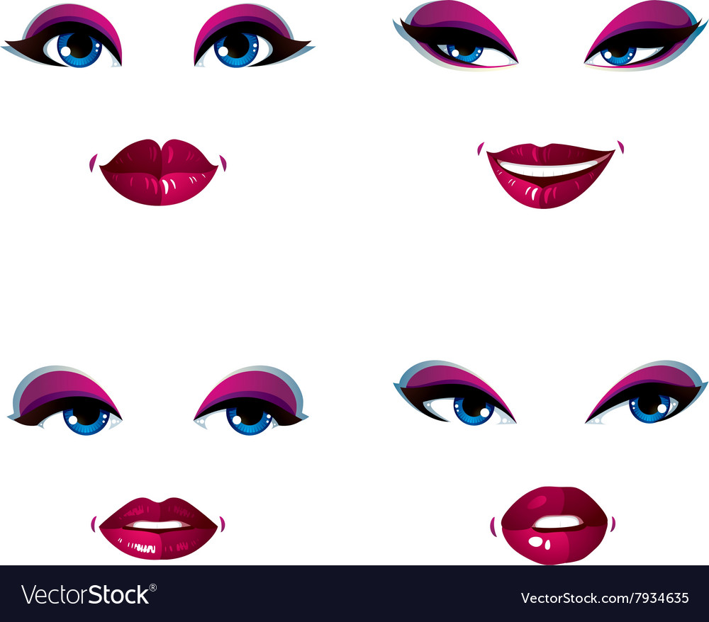 Attractive young ladies art portraits collection vector image