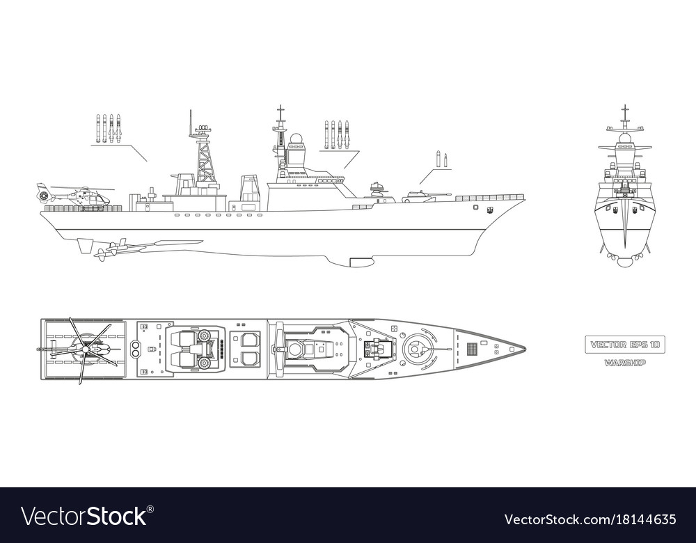 Blueprint of military ship top front and side vector image malvernweather Choice Image