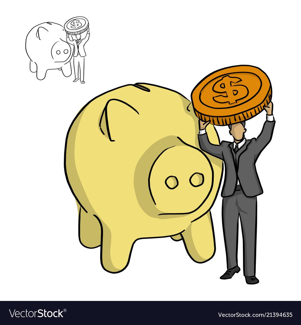 Businessman holding big coin