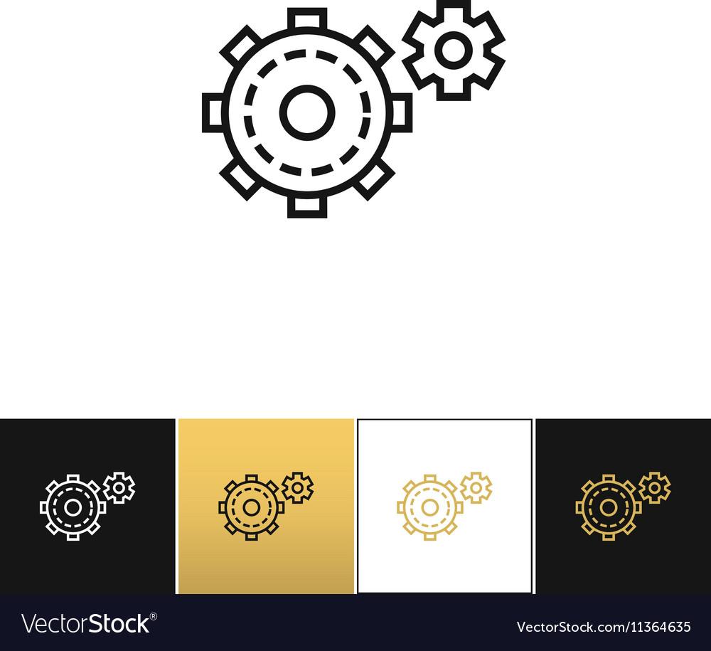 Cogwheels symbol or cog gears line icon vector image