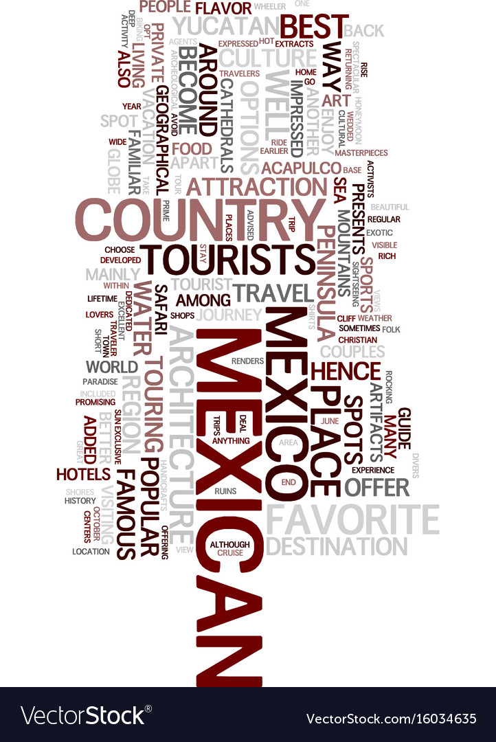 Mexican travel guide text background word cloud vector image