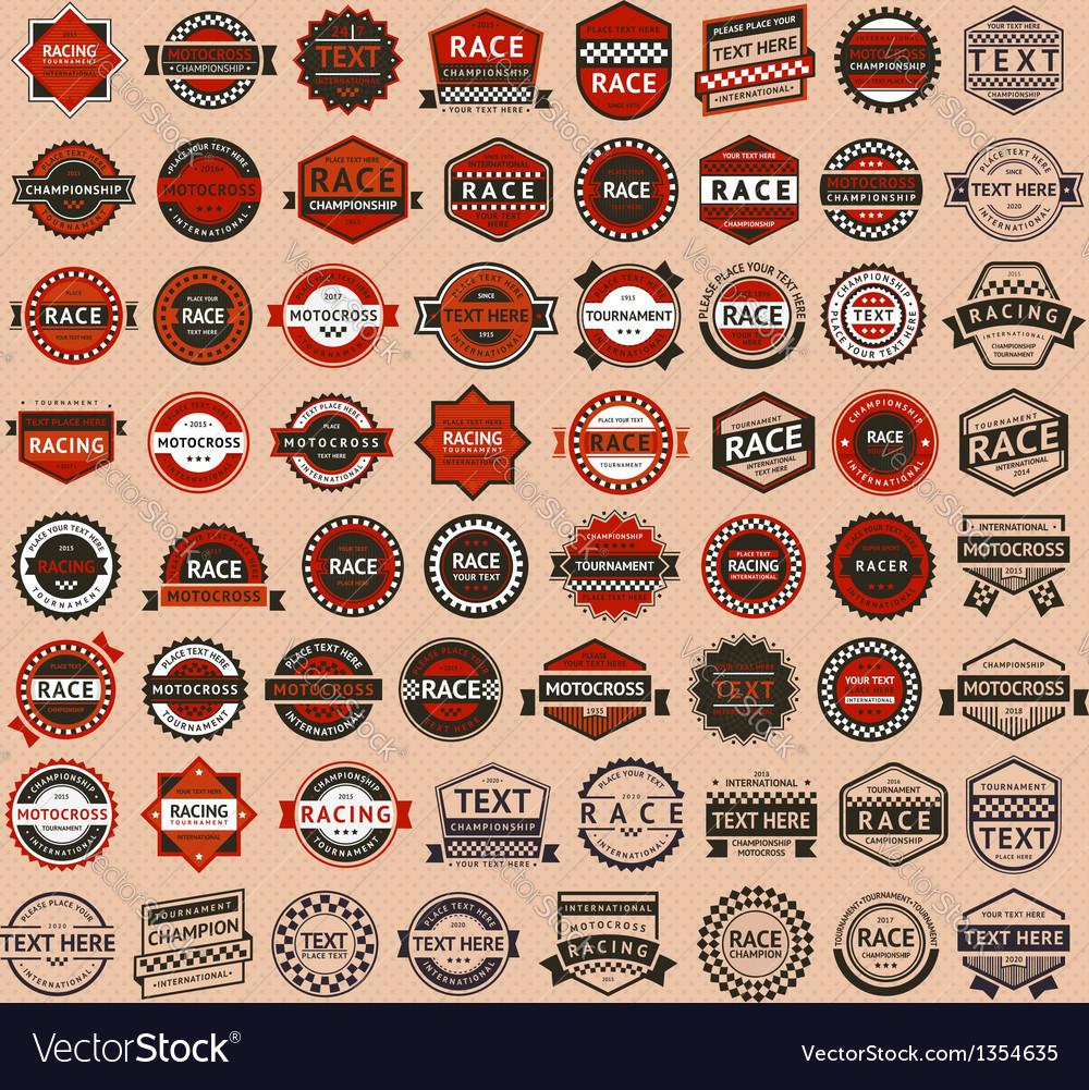 Racing badges - vintage style big set