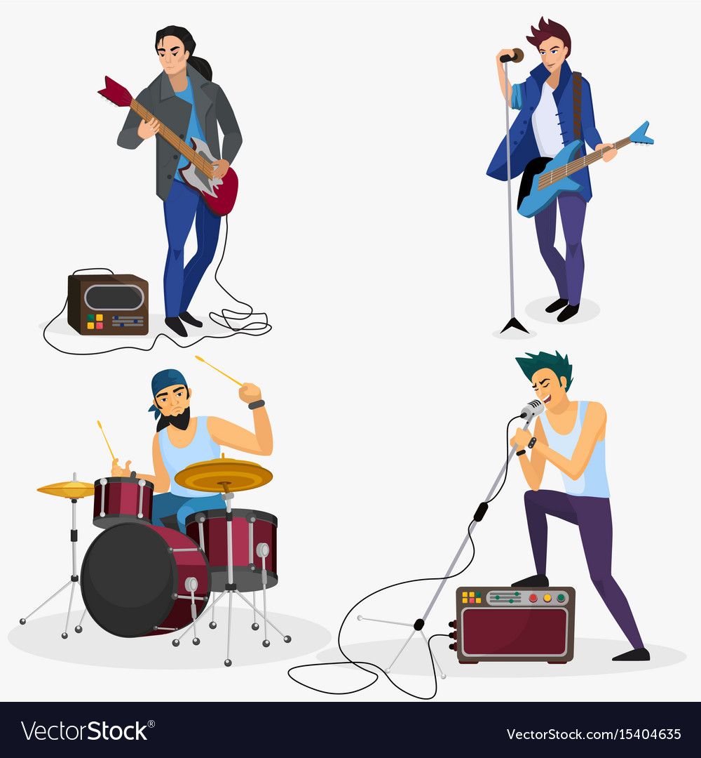 Rock band members isolated musical group singer
