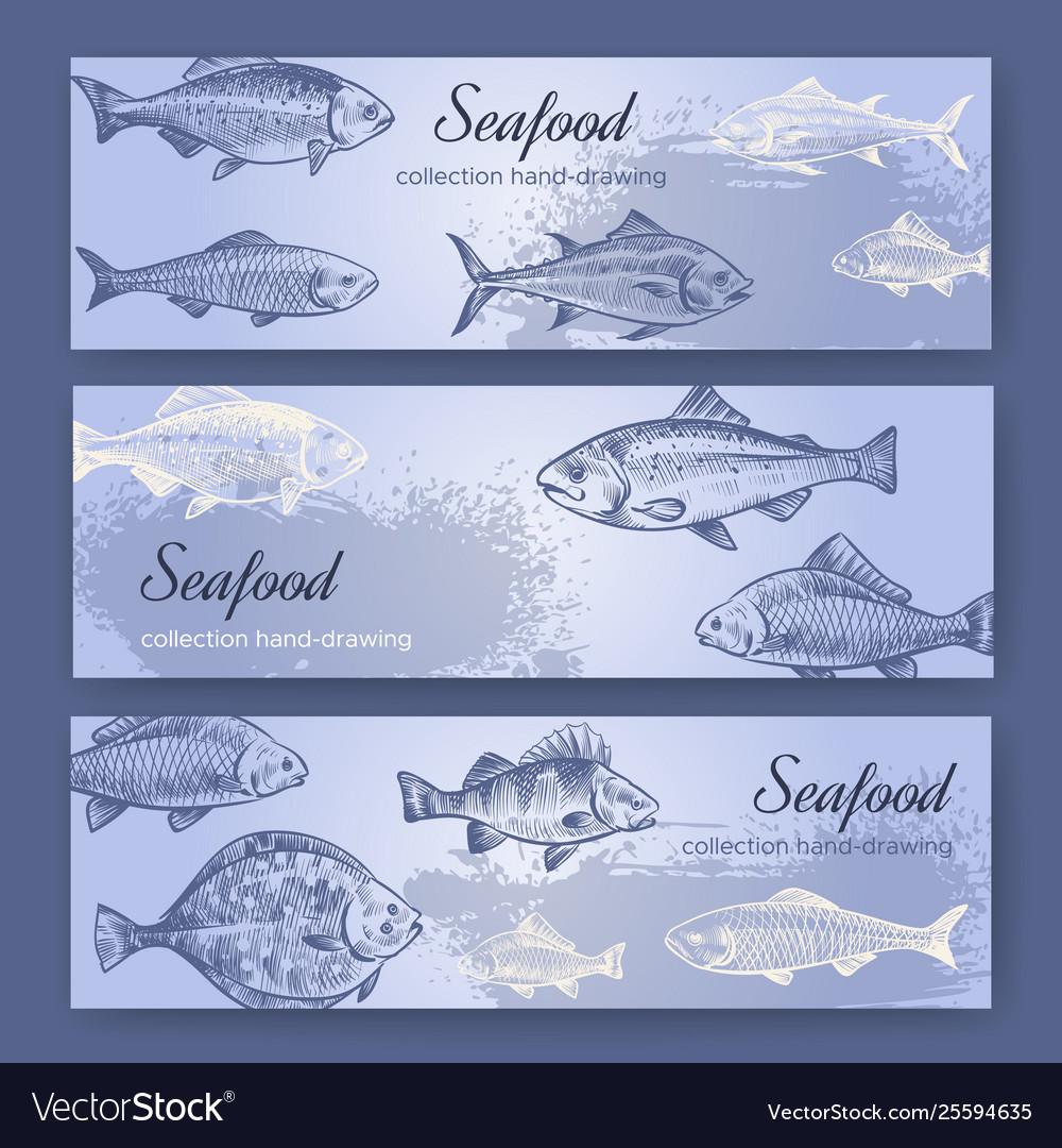 Seafood flyers vintage mediterranean fish food