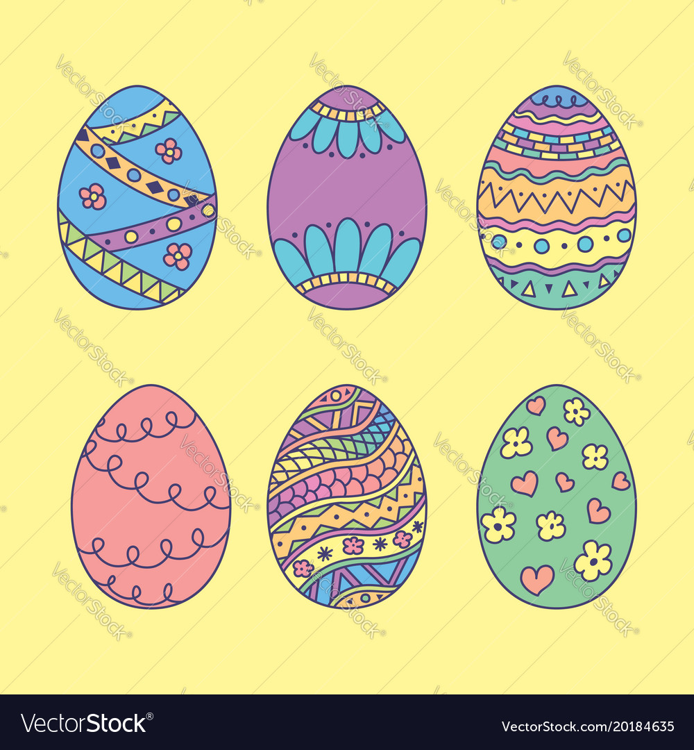 set doodle easter eggs color hand drawn easter vector 20184635