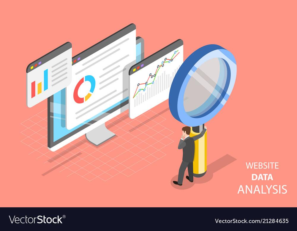 Website data analysis flat isometric