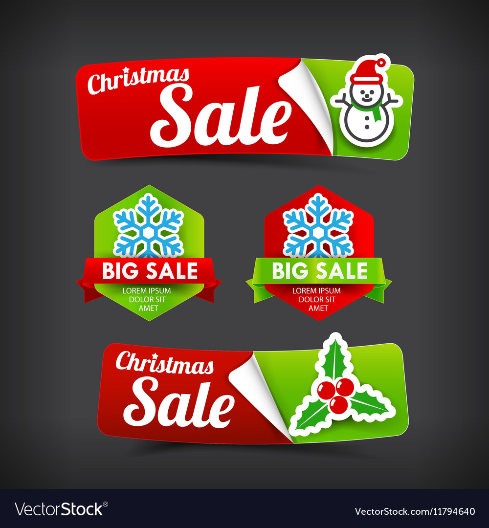 022 Collection of colorful Merry Christmas web tag