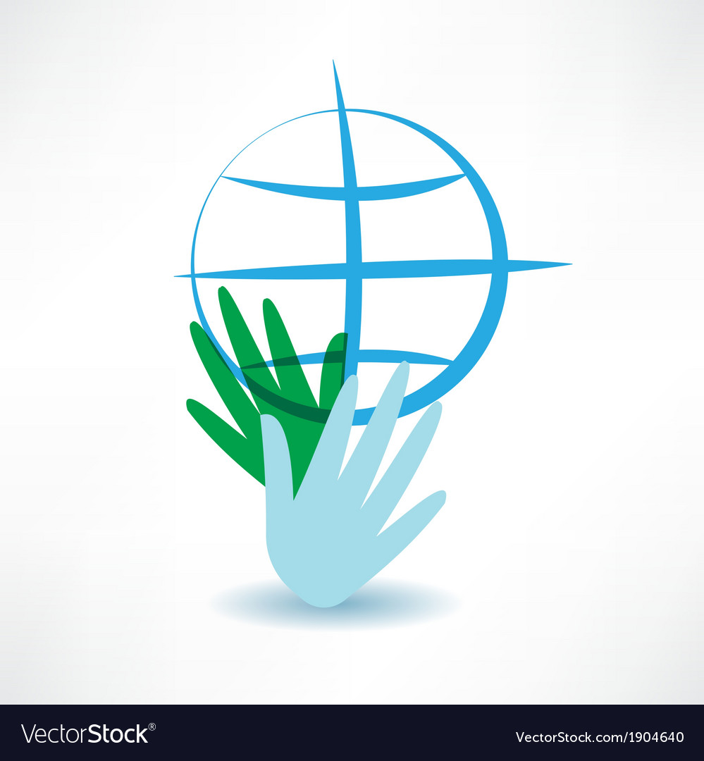 Blue globe in hands icon vector image