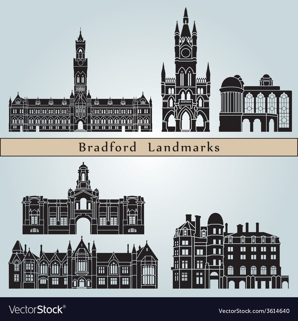Bradford landmarks and monuments vector