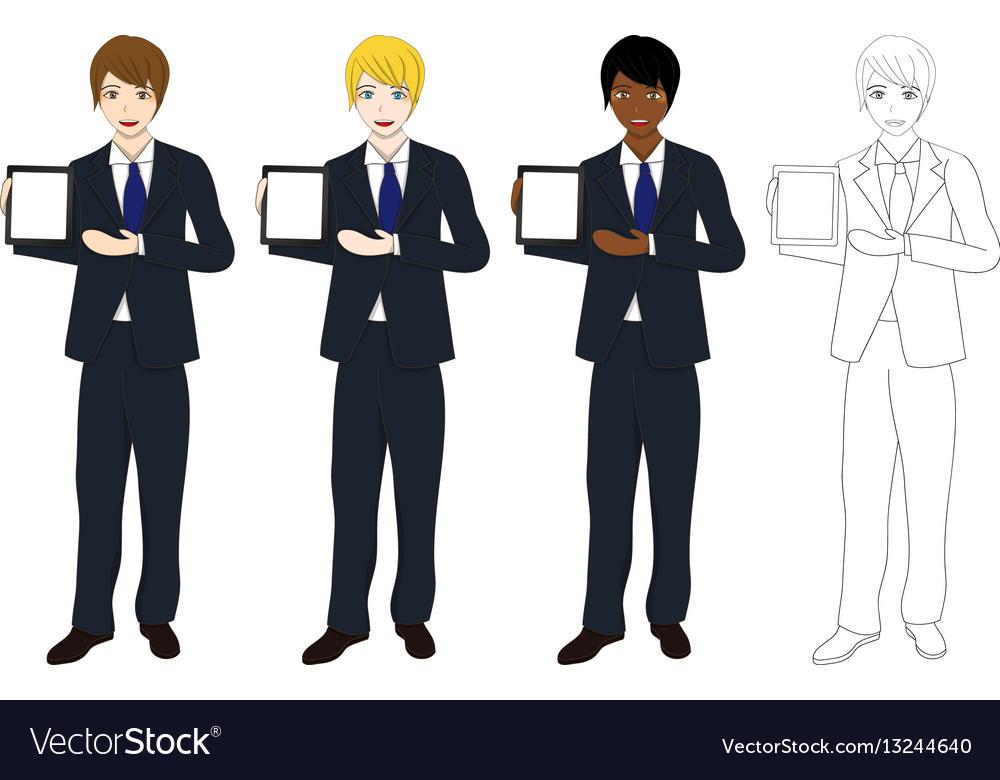 Business man presentation tablet