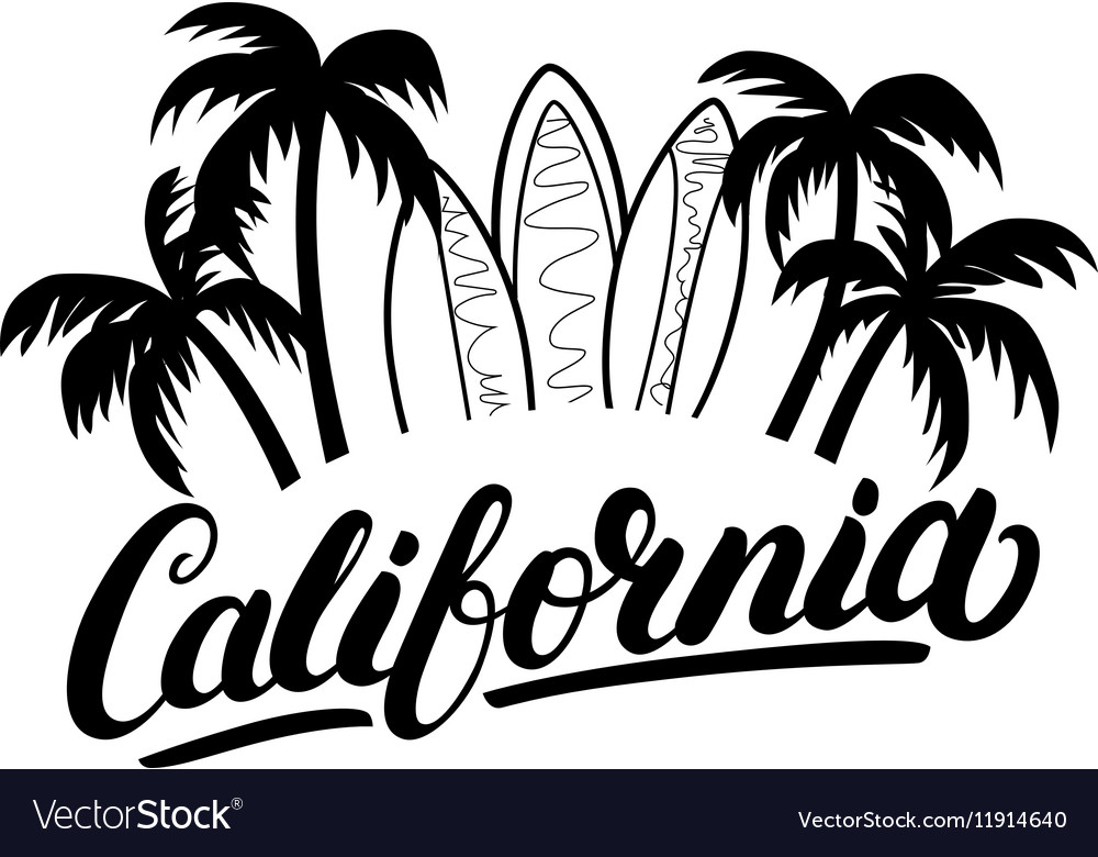 California hand written lettering with palms and