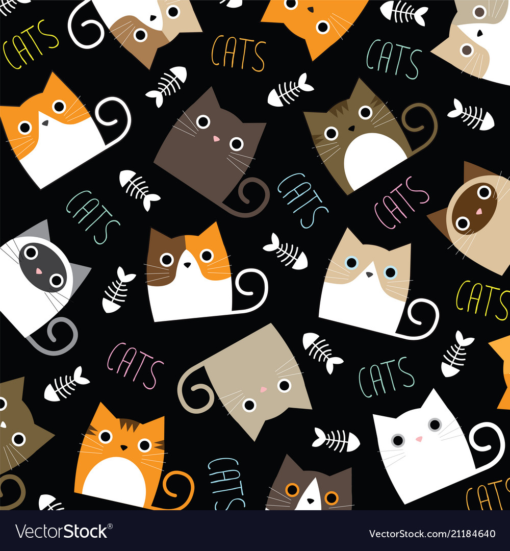 Cute Cats Wallpaper Royalty Free Vector Image Vectorstock