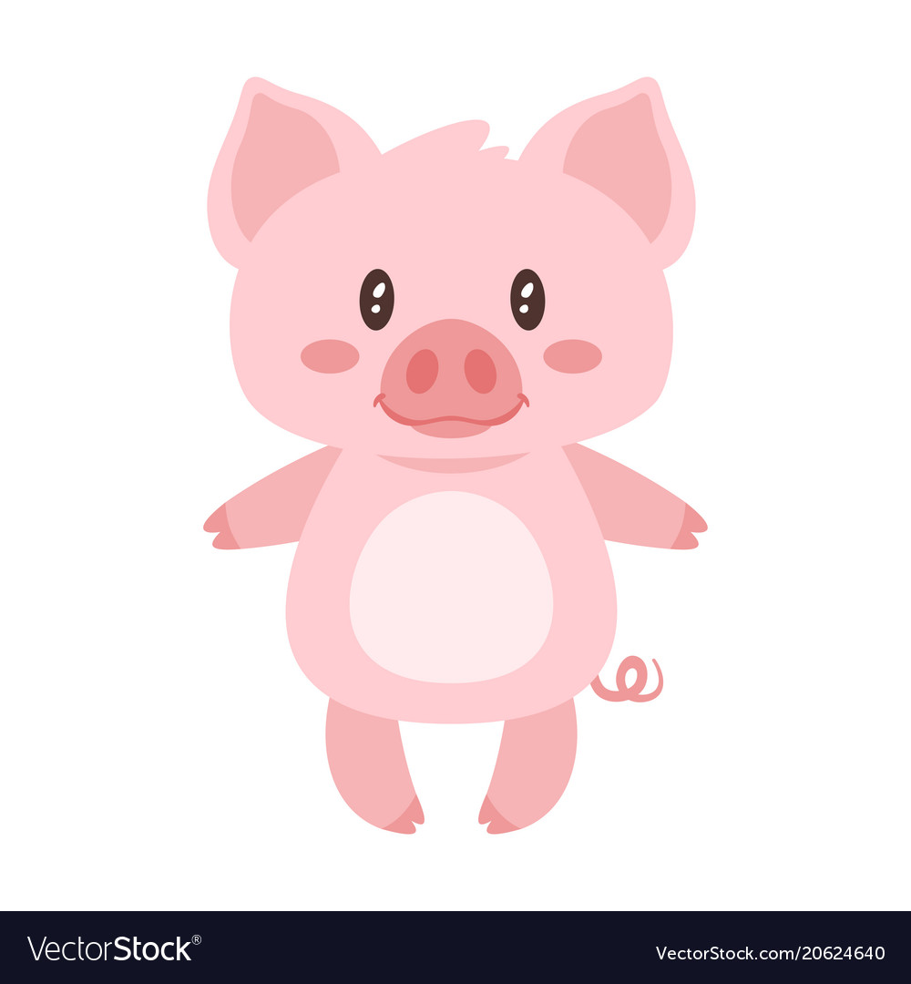 cute pink standing pig royalty free vector image