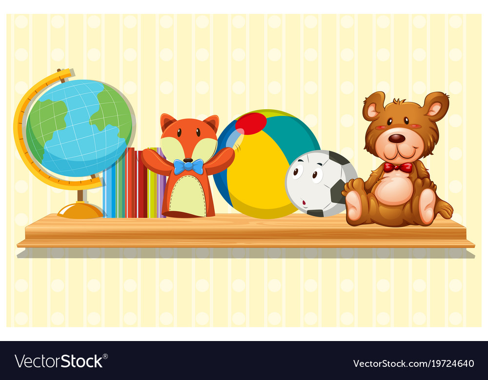 doll and ball on wooden shelf royalty free vector image