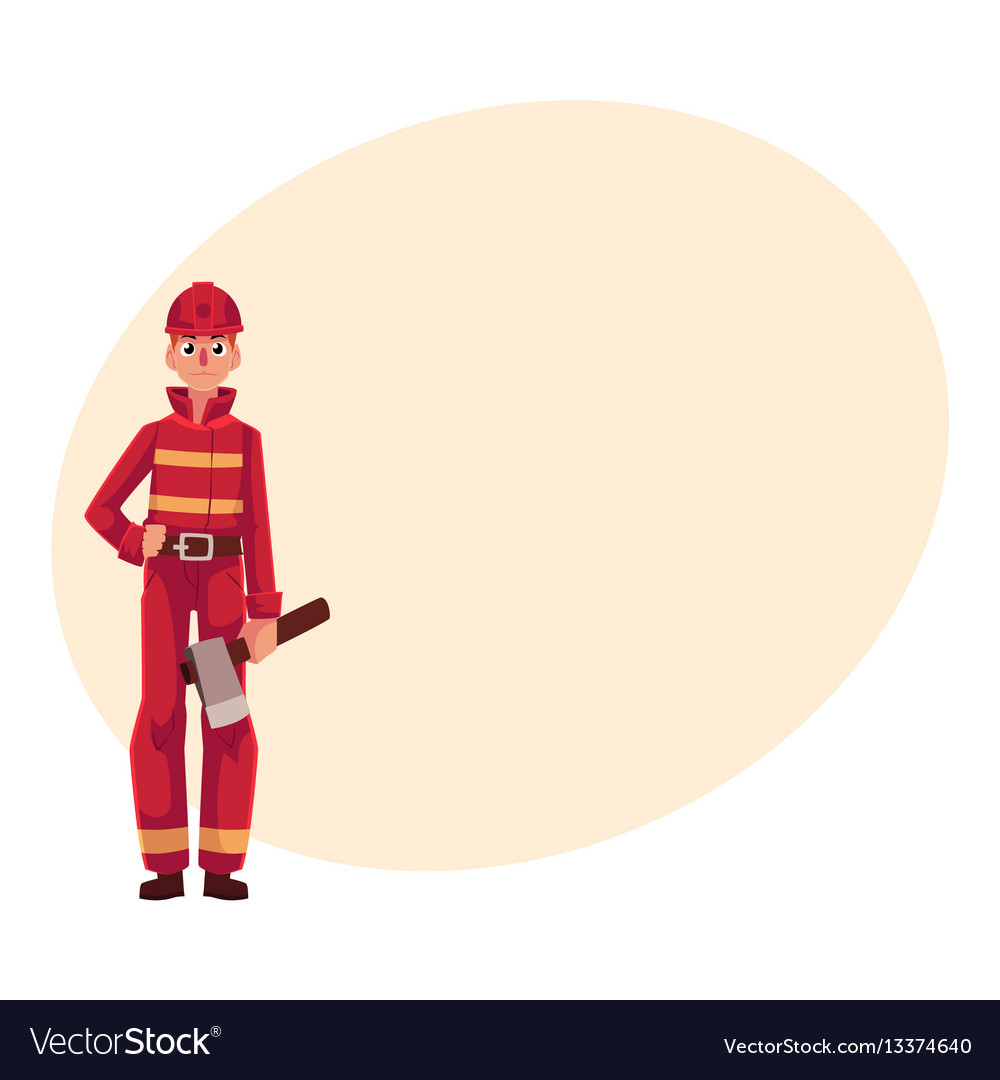 Firefighter fireman in red protective suit