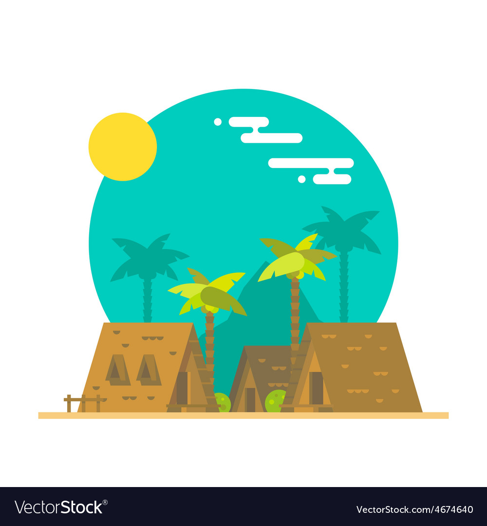 Flat design of beach bungalows