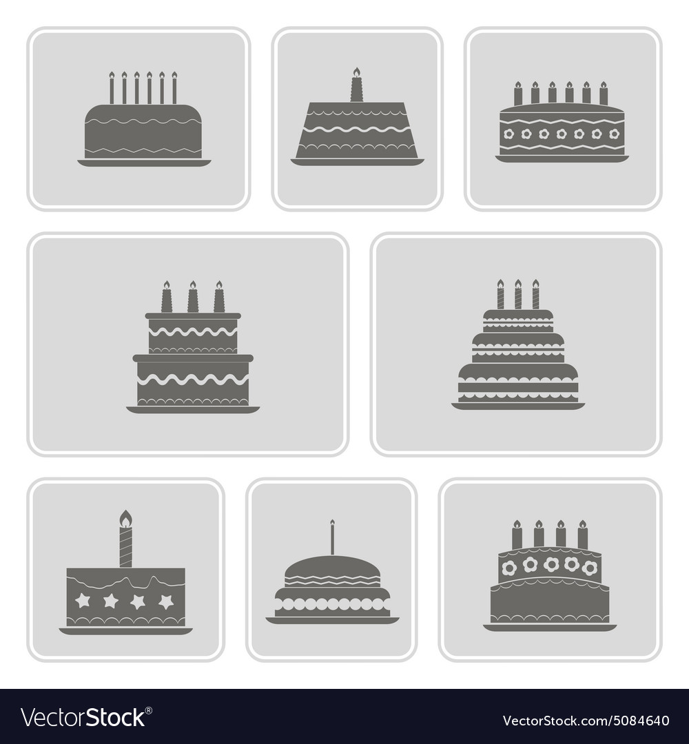 Monochrome icons with birthday cakefor