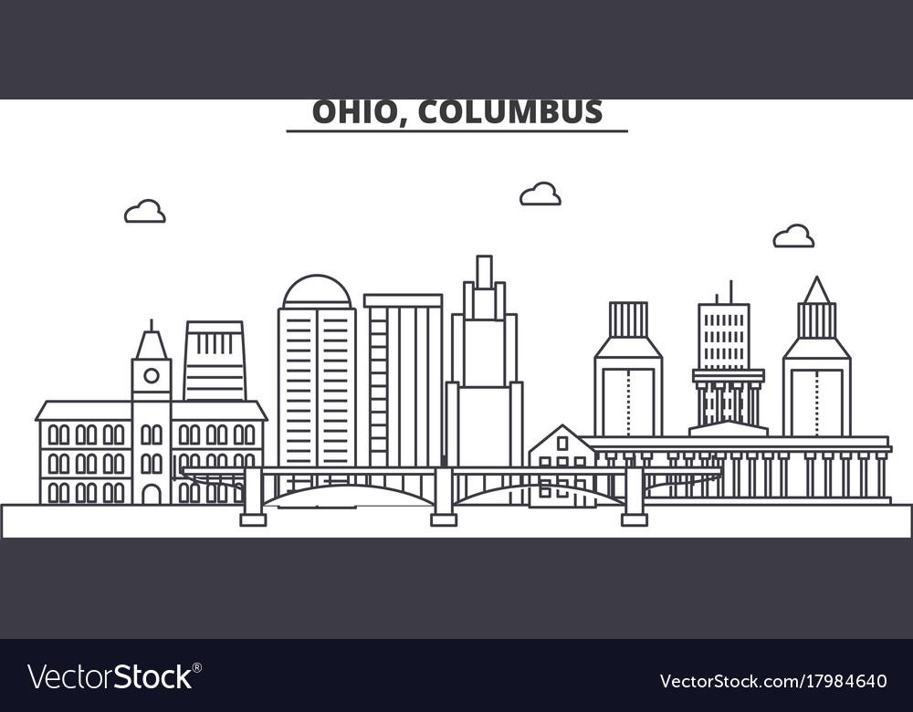 Ohio columbus architecture line skyline vector image