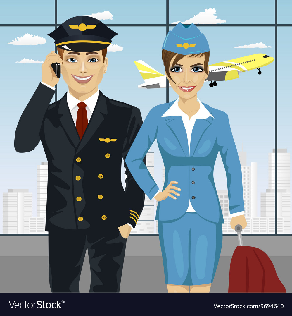 Pilot and air hostess in uniform at airport