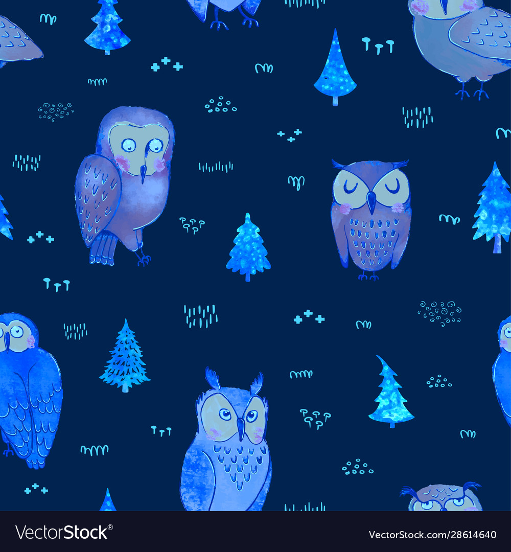 Seamless background with owls in forest