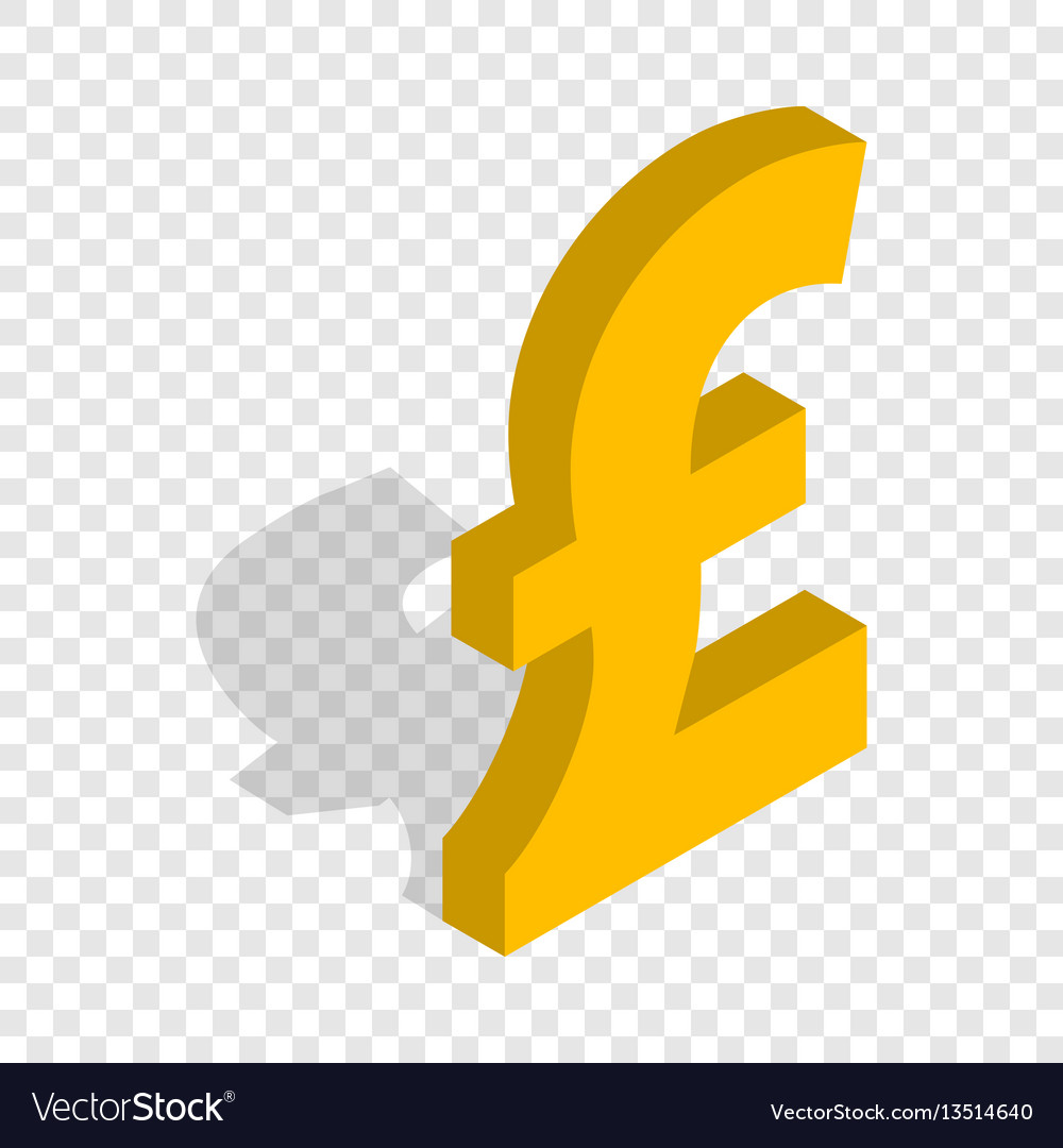 Sign of pound sterling isometric icon