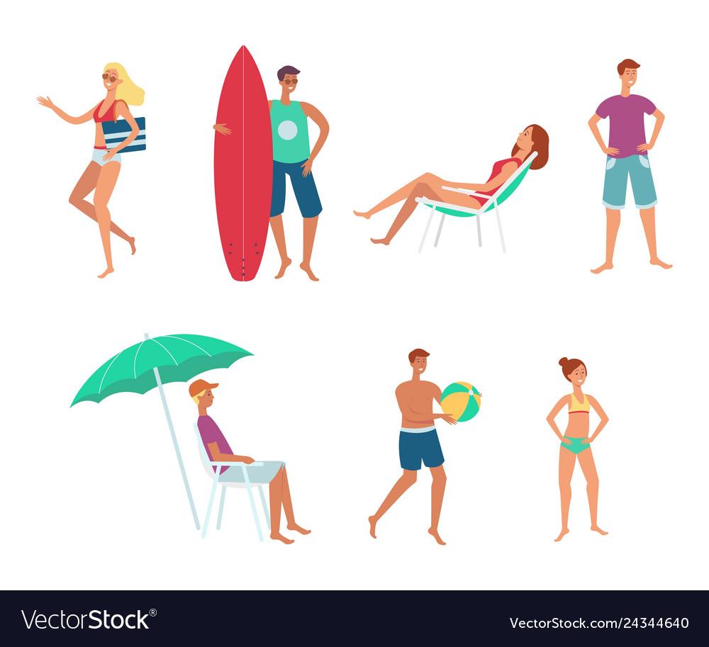 Summer sea vacation people flat set