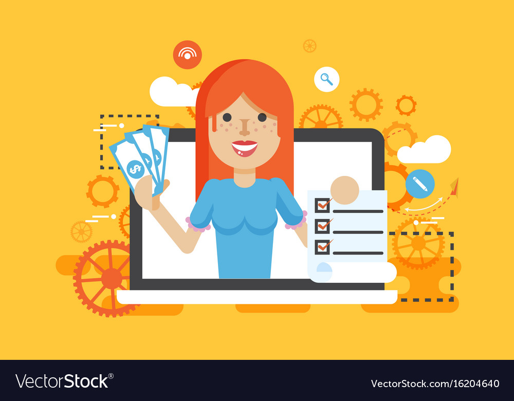 Woman laptop notebook offers