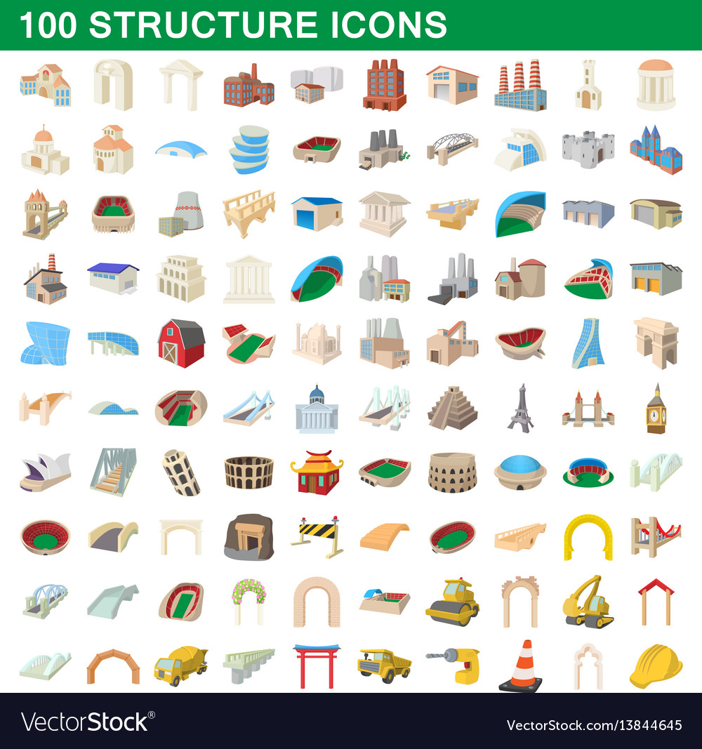 100 structure icons set cartoon style