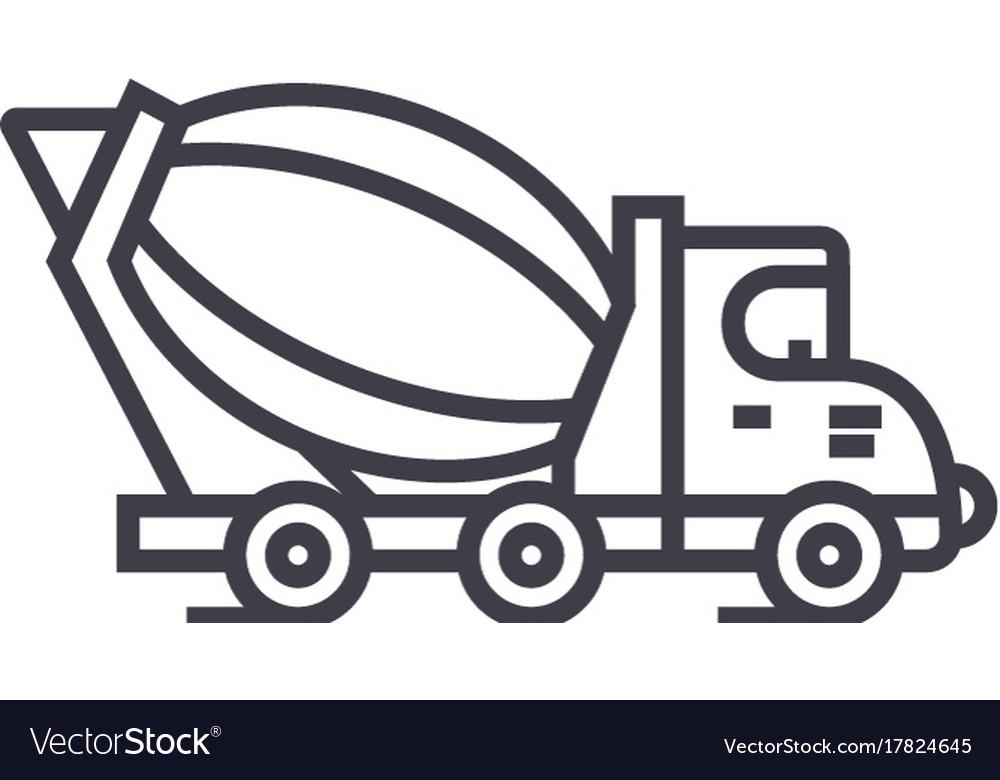 Concrete mixer truck line icon sign