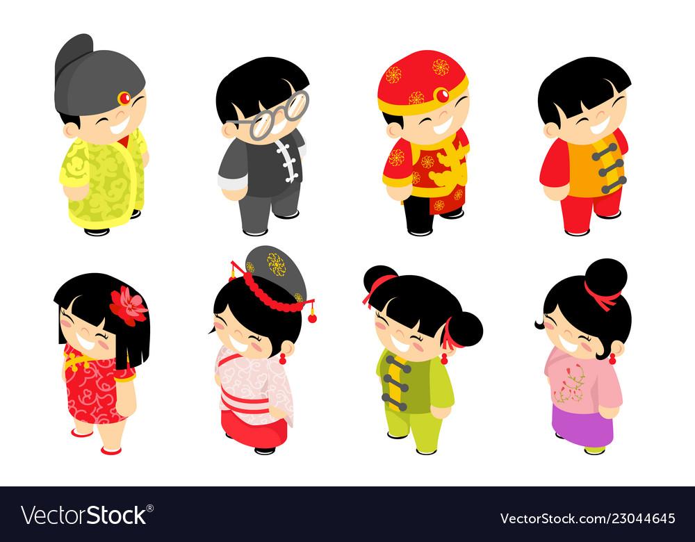 Cute isometric chinese children characters new