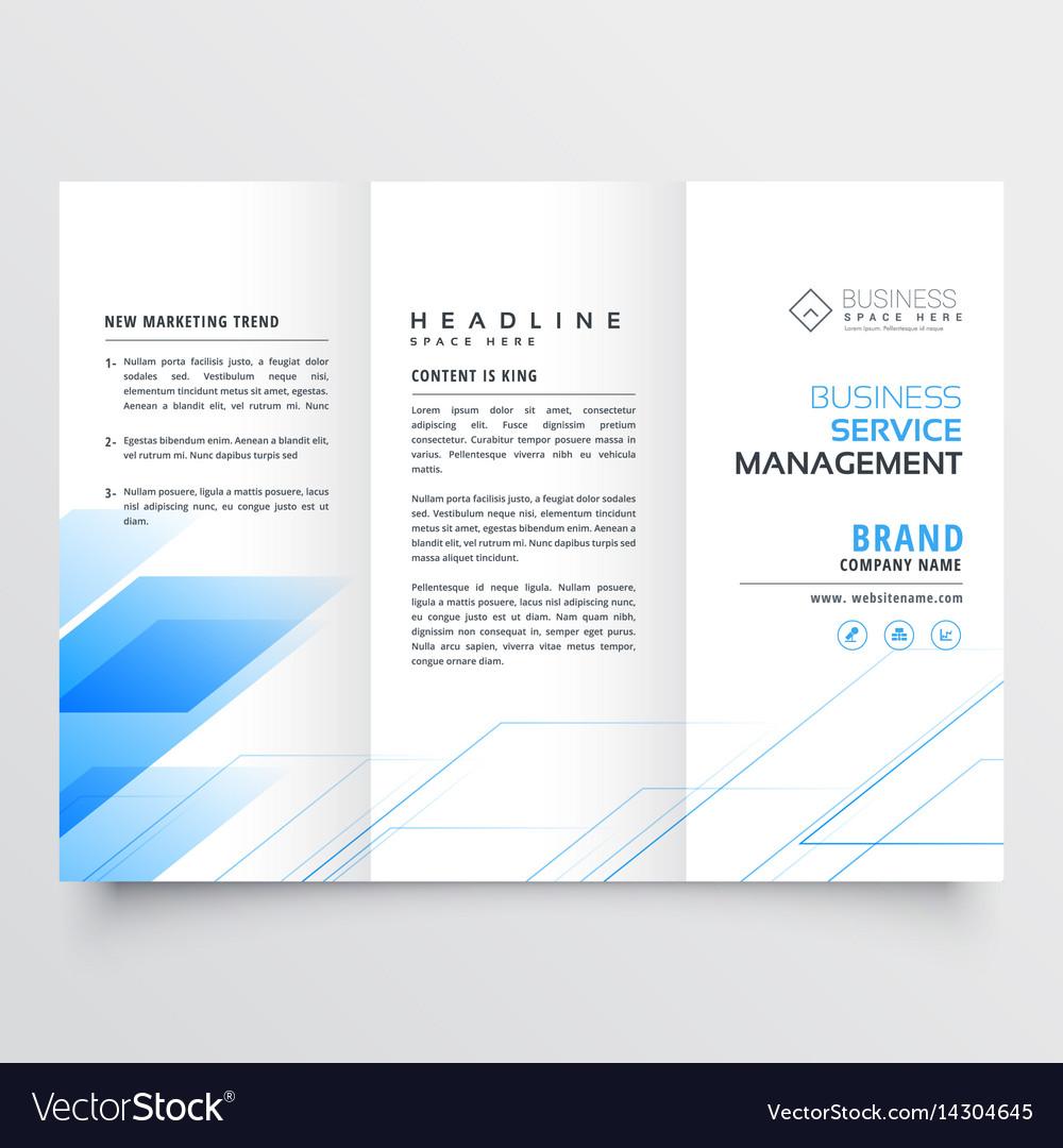Elegant Blue Business Tri Fold Brochure Flyer Vector Image