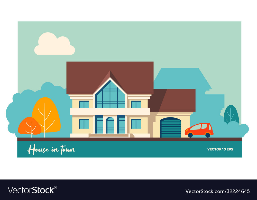 House with garage and car