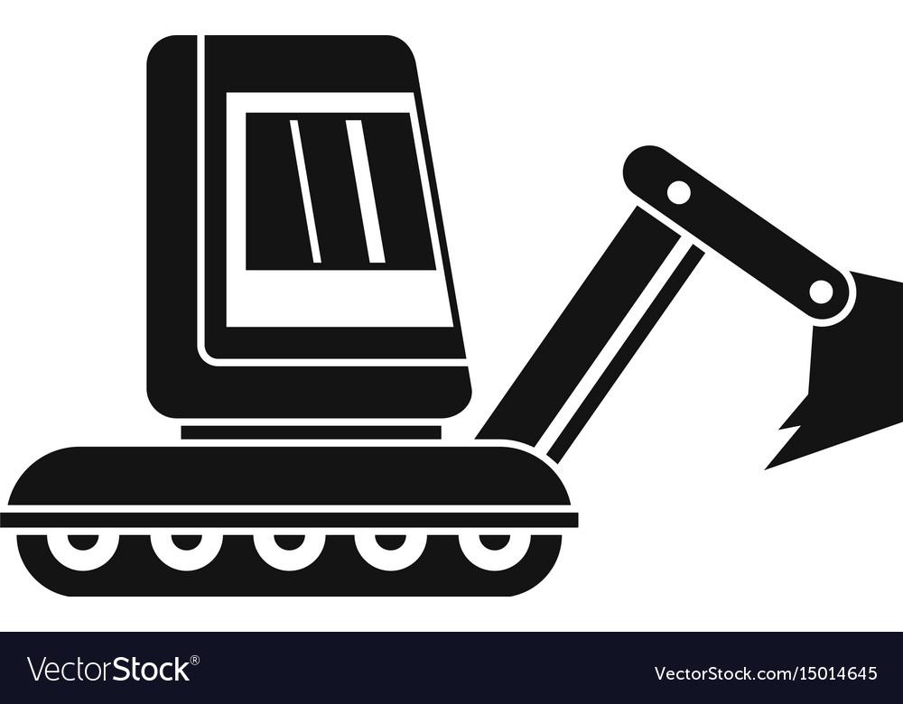Mini Excavator Icon Simple Royalty Free Vector Image