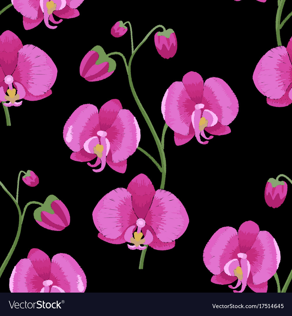 Pink Orchid Branch Embroidery Seamless Pattern