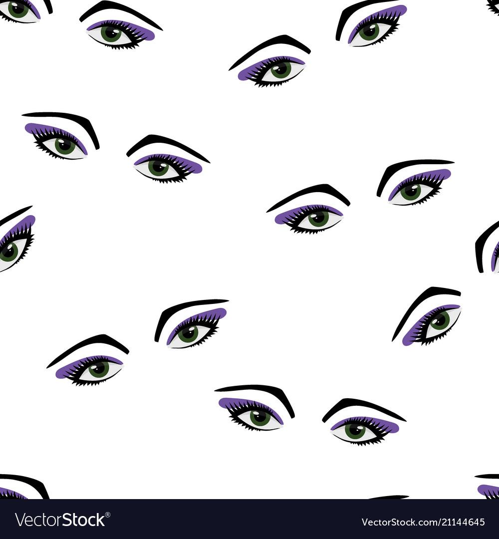 Seamless pattern eyes and eyelashes