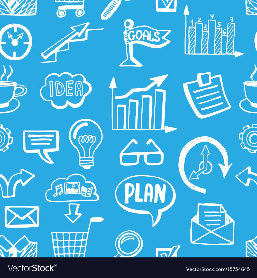 Seamless pattern with creative business doodles vector image
