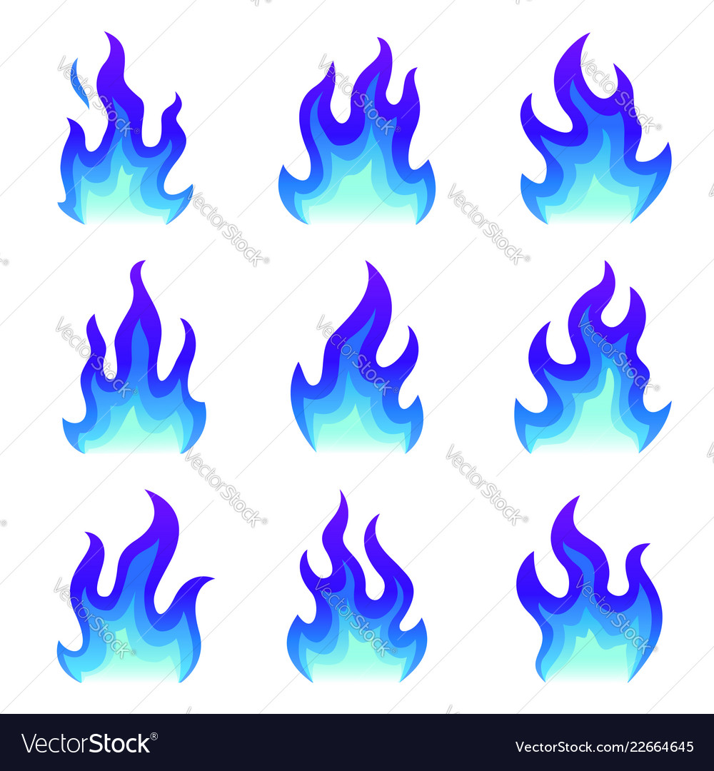 Set of blue fire icons flat fire flame