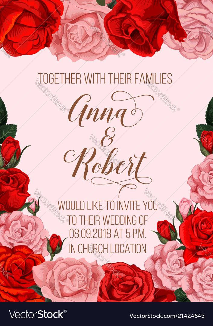 wedding invitation card with rose flower border vector image