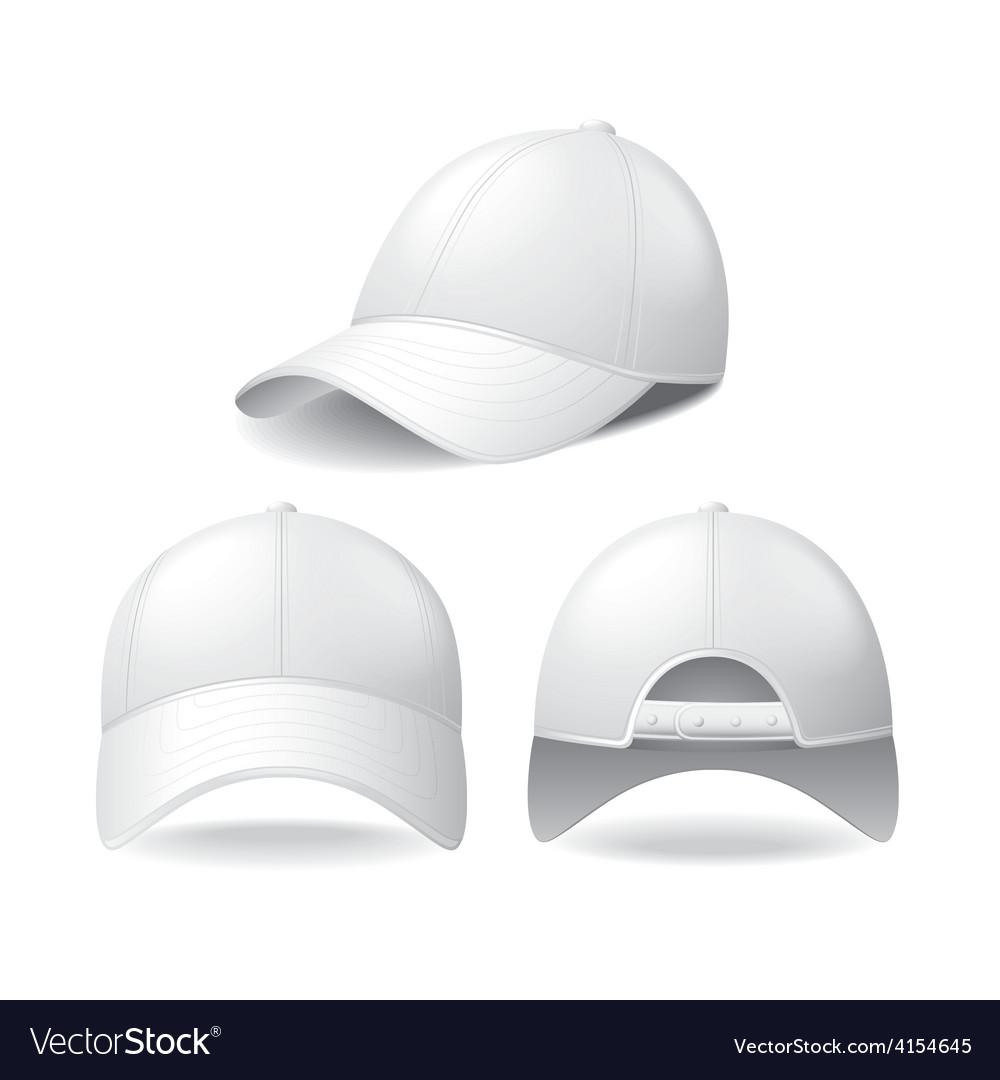 White baseball cap isolated on white vector image