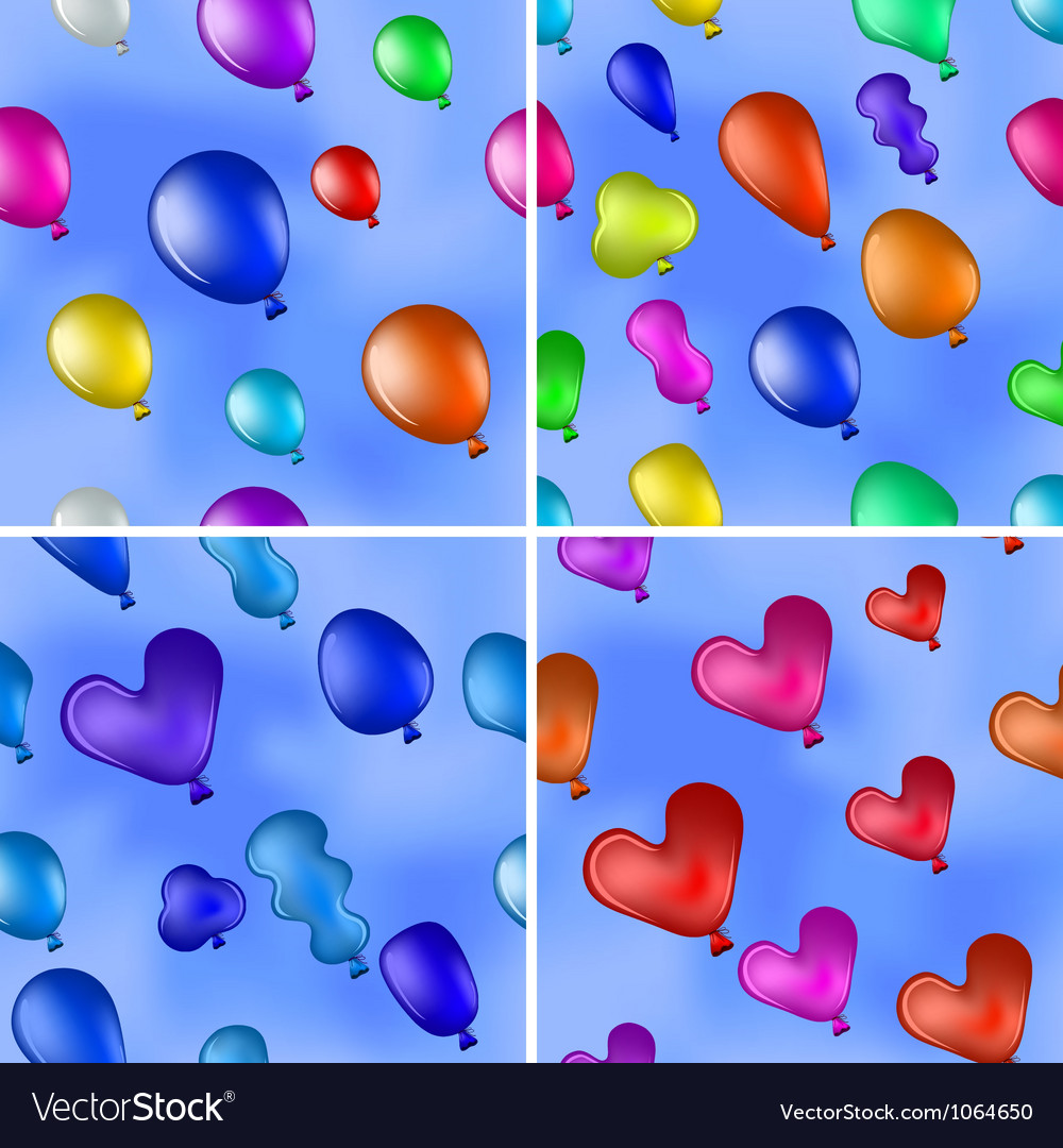 Balloons in sky seamless set