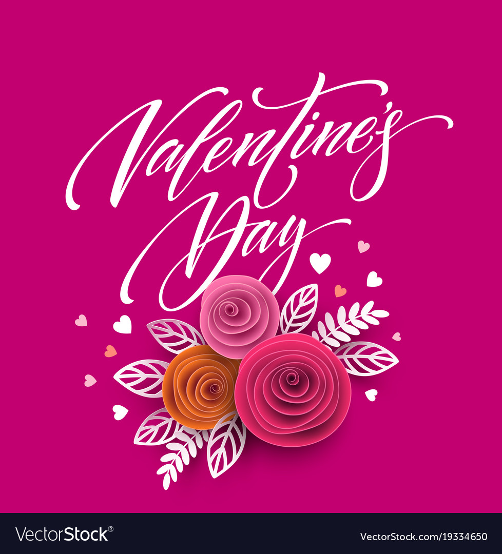 Card of valentines day lettering in paper flower