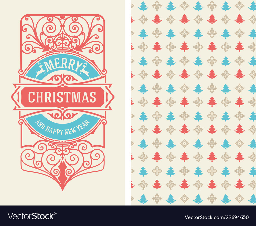 Christmas vintage greeting card with wallpaper