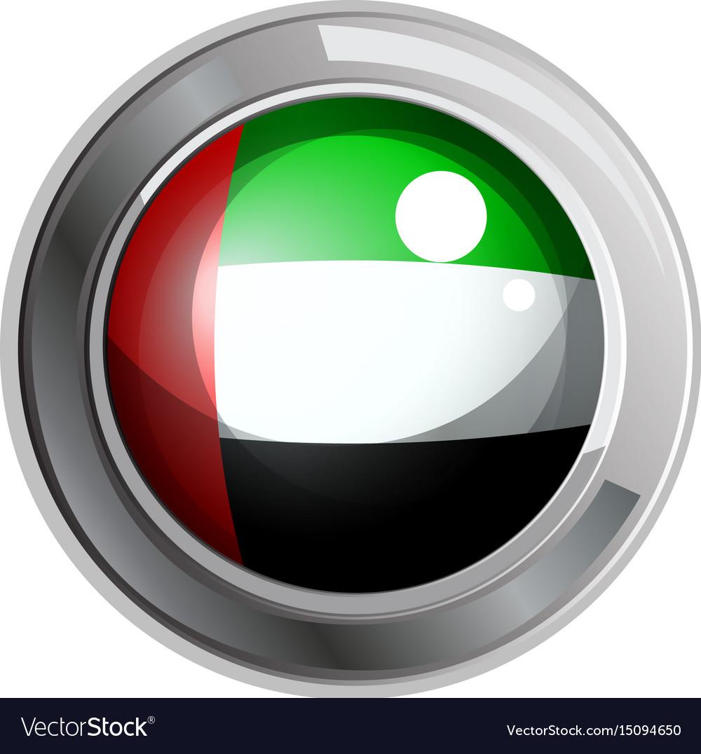 Flag of arab emirates in round metal frame
