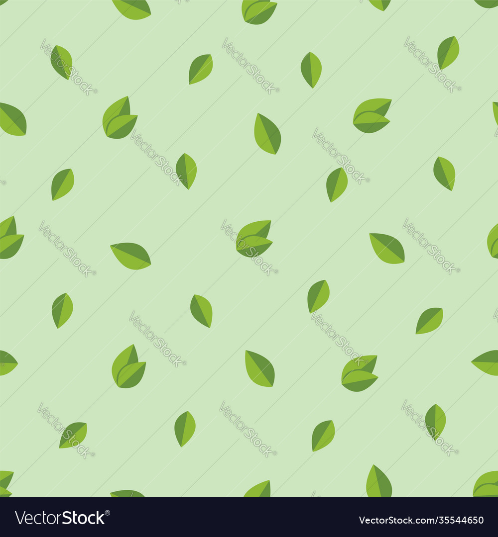 Foliage seamless pattern background with green