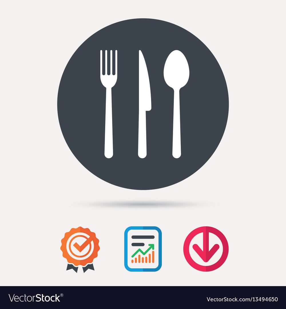 Fork knife and spoon icons cutlery sign