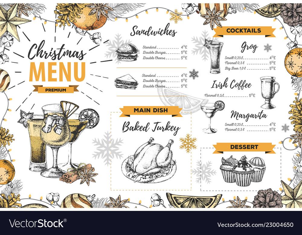 Hand drawing christmas holiday menu design