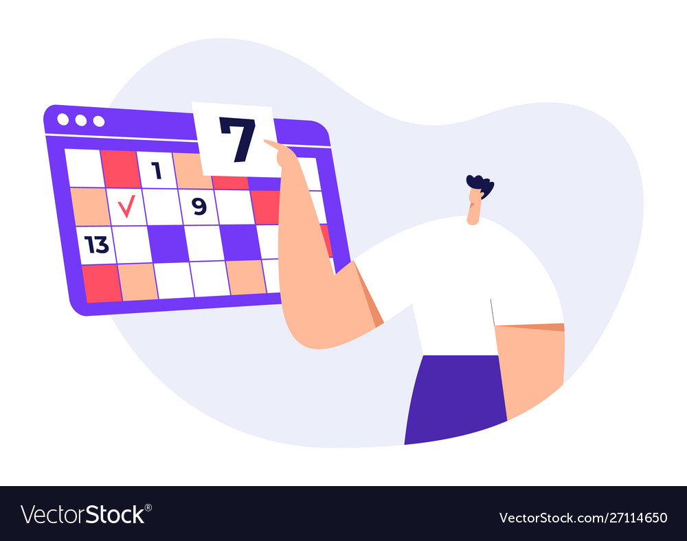Man modern character with big calendar timetable