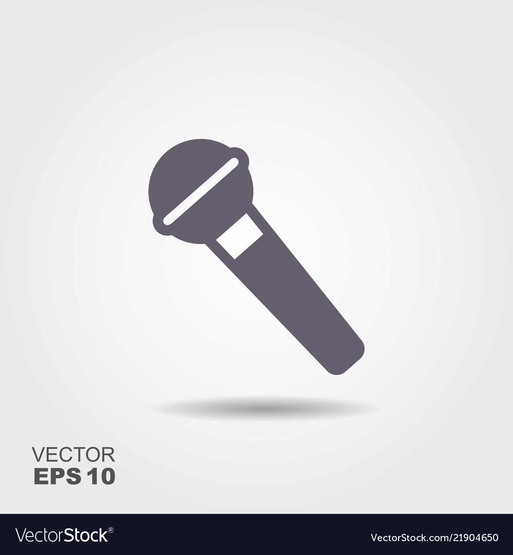 Microphone icon in flat style isolated on grey