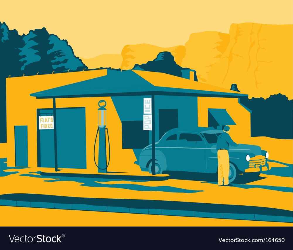 Old gas station vector image